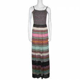 M Missoni Multicolor Lurex Knit Sleeveless Maxi Dress M 136605