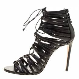 Casadei Black Strappy Leather Lace Up Gladiator Sandals Size 37.5 137668