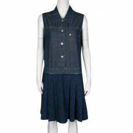 Miu Miu Indigo Dark Wash Colorblock Denim Sleeveless Pleated Dress M 136551