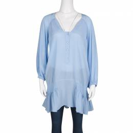 Ermanno Scervino Powder Blue Silk Pintuck Detail Long Sleeve Tunic M 130150