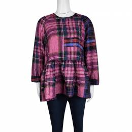 Victoria Victoria Beckham Multicolor Checked Crushed Silk Peplum Top L