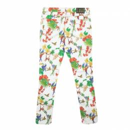 Etro White Bird and Floral Print Skinny Jeans S 123199
