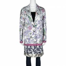 Etro Multicolor Floral Printed Textured Cotton Blend Overcoat M 121315