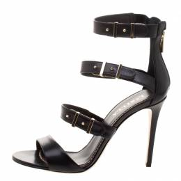Le Silla Black Leather Minerva Strappy Sandals Size 38.5 98598