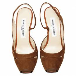 Manolo Blahnik Brown Suede and Leather Slingback Sandals Size 37