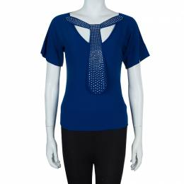 Sonia Rykiel Blue Knit Short Sleeve Embellished Tie Detail Top S 57955