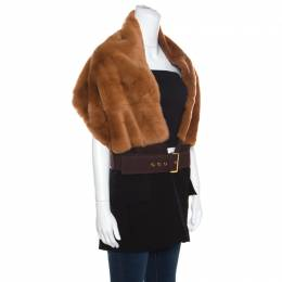 MARNI Bicolor Rabbit Fur and Wool Blend Belted Scarf Style Vest ( One Size ) 159318