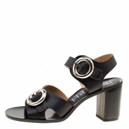 Joseph Black Leather Buckle Detail Block Heel Sandals Size 40 162006