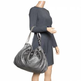Dior Grey Cannage Quilted Leather Drawstring Bag 162676