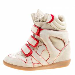 Isabel Marant Grey Suede with Metalllic Red Leather Trim Bekett Wedge Sneakers Size 35 164250