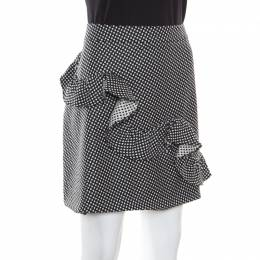 Boutique Moschino Monochrome Micro Jacquard Wool Ruffled Skirt L