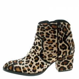Zadig & Voltaire Brown Leopard Print Calf Hair Molly Leo Cowboy Boots Size 37 165613