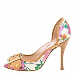 Casadei Beige/Multicolor Leather and Printed Fabric Buckle Detail Pumps Size 37 166860