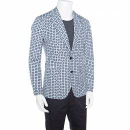 Dolce and Gabbana Navy Blue Hat Printed Cotton and Wool Blazer S 167111