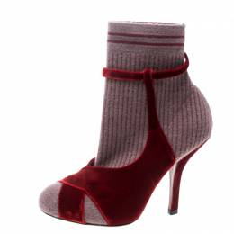 Fendi Red/Purple Velvet and Knitted Fabric Socks Ankle Booties Size 39 349950
