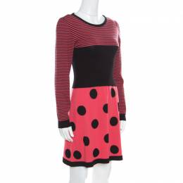 Boutique Moschino Pink Stripes and Polka Dotted Wool Fitted Dress M