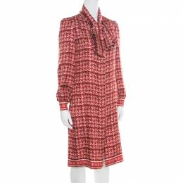 Red Abstract Printed Silk Button Front Tunic Dress S 171483 CH Carolina Herrera