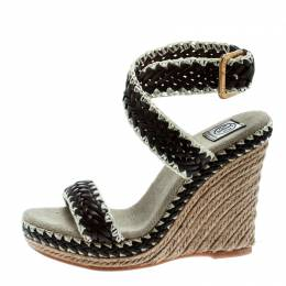 Tory Burch Two Tone Woven Leather Paloma Ankle Strap Espadrille Wedge Sandals Size 36.5