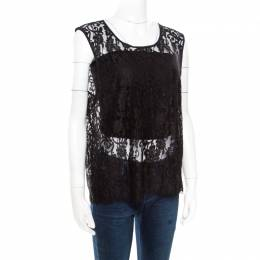 Alice+Olivia Black Floral Lace Scalloped Trim Detail Sleeveless Top L