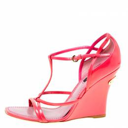 Louis Vuitton Pink Patent Leather Ankle Strap Square Toe Wedge Sandals Size 36.5 174776