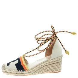 Tory Burch Multicolor Canvas And Nubuck Laguna Espadrille Wedge Sandals Size 35