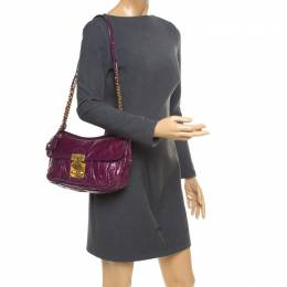 Miu Miu Purple Matelasse Leather Shoulder Bag 174957