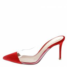 Gianvito Rossi Red Suede and PVC Plexi Pointed Toe Mule Sandals Size 37.5 176704