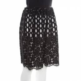 Lanvin Black Floral Cutout Lace Scalloped Bottom Gathered Skirt M 176762