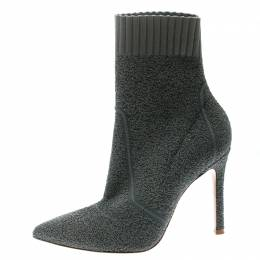 Gianvito Rossi Grey Knit Fiona Pointed Toe Ankle Boots Size 36 177324