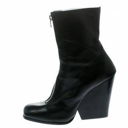 Celine Black Leather Square Toe Calf Length Boots Size 40.5 177808