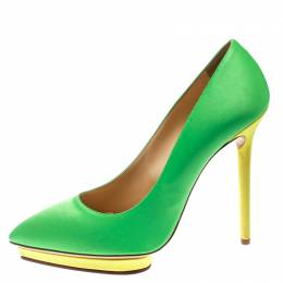 Charlotte Olympia Green Satin Debonaire Pointed Toe Platform Pumps Size 40 177623