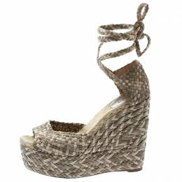Hermes Beige Braided Leather And Raffia Platform Ankle Strap Wedge Sandals Size 40