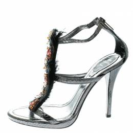 Grey Embossed Python Leather Crystal Embellished Strappy Sandals Size 38 178061 René Caovilla