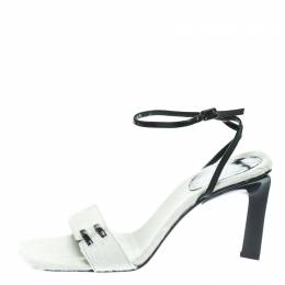 Sergio Rossi White Pony Hair Ankle Wrap Sandals Size 38.5 178091