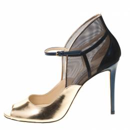 Jimmy Choo Metallic Gold Leather With Blue Mesh Trudie Peep Toe Ankle Strap Pumps Size 41 180946