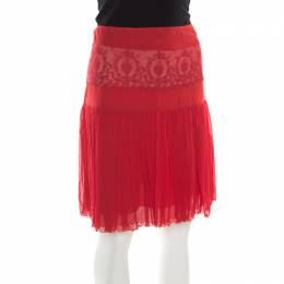 Blumarine Red Floral Lace Insert Crinkled Silk Skirt S 180868