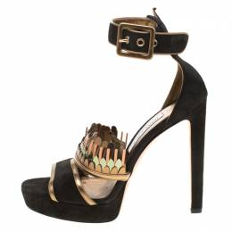 Jimmy Choo Black Suede Kathleen Peep Toe Ankle Cuff Sandals Size 40 181175