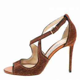 Jimmy Choo Pop Orange Leather Trimmed Lamè Fabric Emily Cross Strap Sandals Size 40 181187