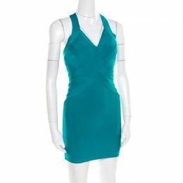 Herve Leger Jade Green Cross Back Detail Mini Bandage Dress XS 181741