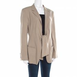 Max Mara Beige Wool and Silk Front Tie Detail Blazer L 182115