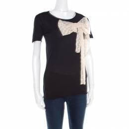 Red Valentino Black Jersey Contrast Bow Detail Raw Edged Top XS 182073