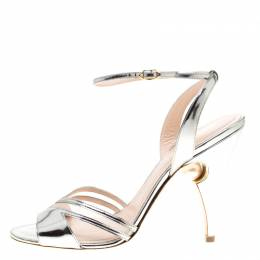 Nicholas Kirkwood Metallic Silver Leather And Mesh Penelope Faux Pearl Embellished Heel Ankle Strap Sandals Size 41