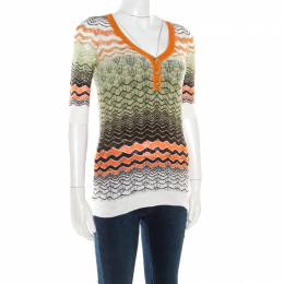 M Missoni Multicolor Perforated Knit Three Quarter Sleeve Buttoned Top M 184342