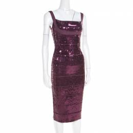Herve Leger Prune Sequined Bandage Dress M 185248