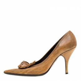 Prada Brown Leather Flower Detail Pointed Toe Pumps Size 38.5 186858