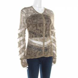 Dior Boutique Lace Olive Green Perforated Knit Lace Insert Buttoned Cardigan L 186495