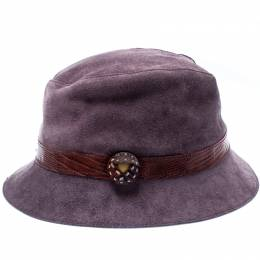 Tods Purple Suede and Lizard Trim Bowler Hat Tod's 192618