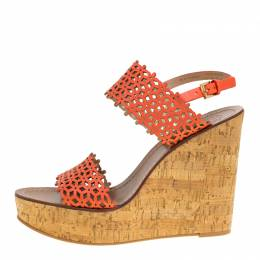 Tory Burch Coral Red Perforated Leather Daisy Cork Wedge Sandals Size 40.5 151365