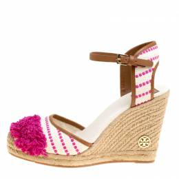 Tory Burch	 Beige/Pink Striped Canvas Shaw Espadrille Wedge Sandals Size 41 150235