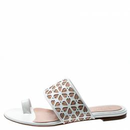 Alexander McQueen White/Beige Laser Cut Leather And Suede Toe Ring Flat Sandals Size 38